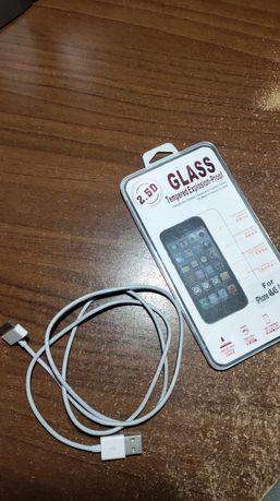 Защитное стекло, и кабель IPHONE 4/4S