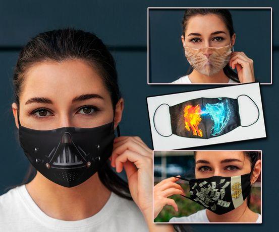Защитные многоразовые маски с принтом, логотипом. Пошив масок.