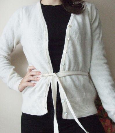 Sweter kardigan wełniany angora wiązany