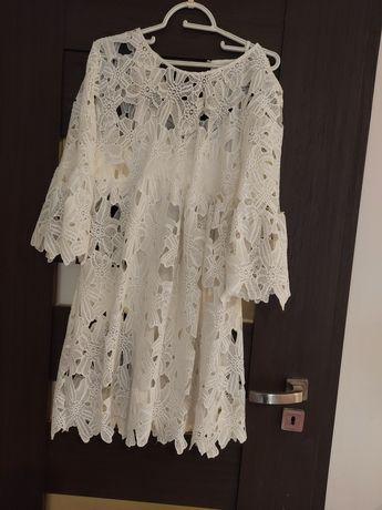 Biala azurowa sukienka