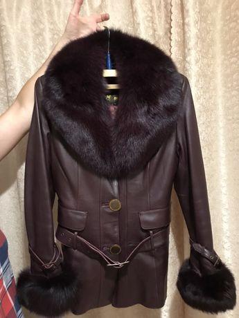 Кожаная куртка мехом