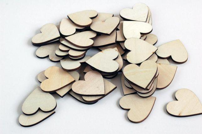 50 Corações em Madeira - 4 cm
