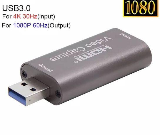 Карта видеозахвата HDMI USB 3.0, 4K 1080p 60fps, Алюминий, видеозахват