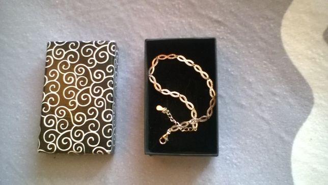 Nowa , srebrna bransoletka z kamyczkami _ 925 + pudełko