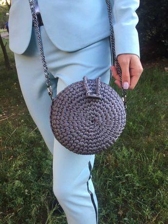 вязаная сумка круглая