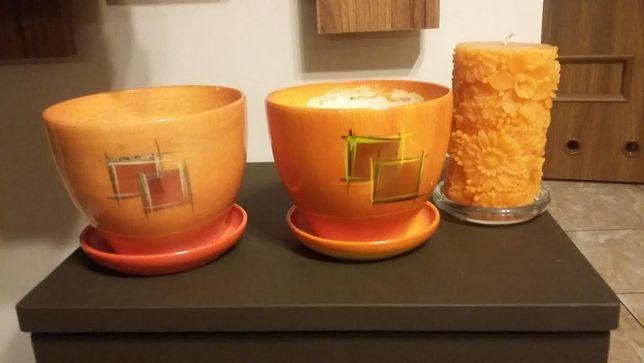 2 szt doniczki ceramiczne kolor pomarancz