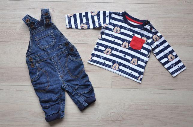 George Disney ocieplane ogrodniczki jeans + bluzeczka Mickey bdb r. 62