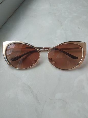 Очки солнцезащитные лисички золото коричневые