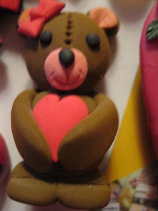 магнит на холодильник HAND MADE мишка с бантиком сердечко медведь Днепр - изображение 1