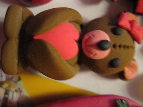 магнит на холодильник HAND MADE мишка с бантиком сердечко медведь