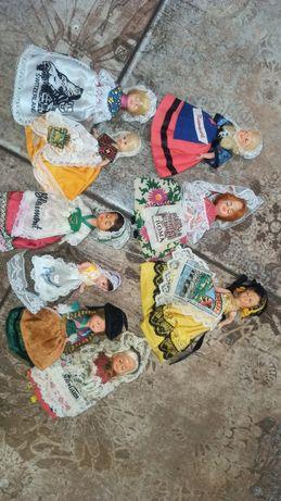 Лот 9 штук Куклы целлулоид в национальных костюмах 12 см