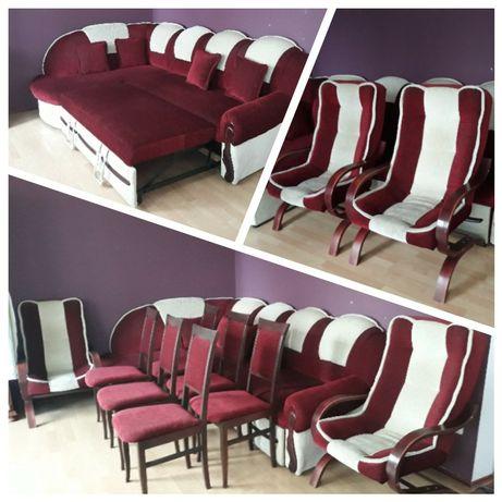 Komplet mebli wypoczynkowych- narożnik, 2 fotele, 6 krzeseł