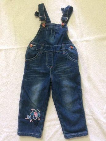 Теплый джинсовый комбинезон комбез полукомбинезон для девочки