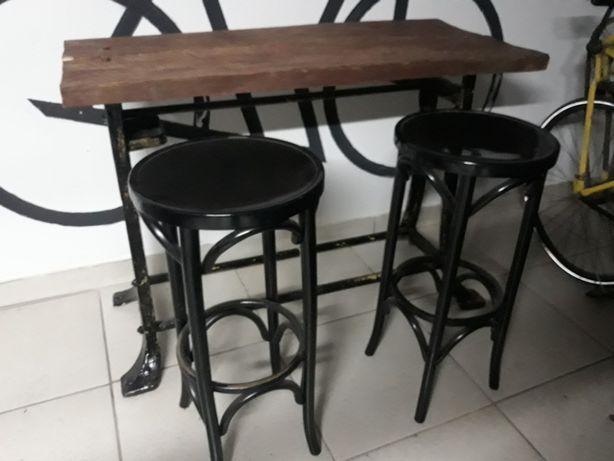 Ława stół z drewnianym blatem industrial