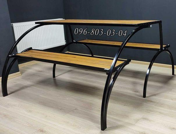Стол трансформер раскладной с лавками ЮМК Обеденный комплект для улицы