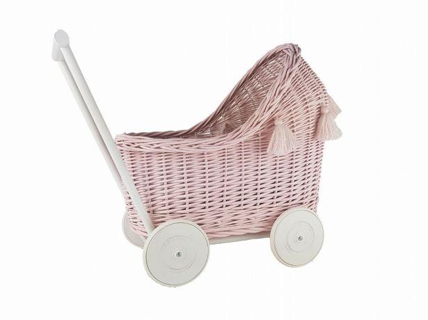 Wiklinowy wózek dla lalek Róż z Chwostami, ekologiczny, produkt polski