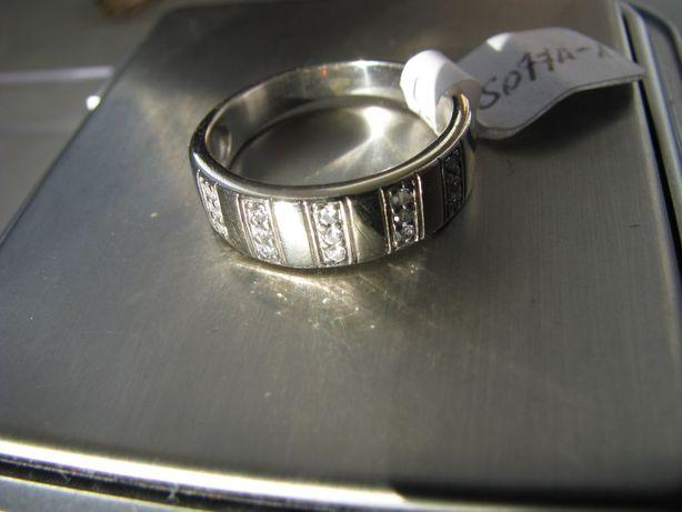 Pierścionek białe złoto 585 cyrkonie