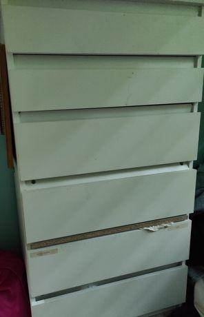 Biała komoda 6 szuflad