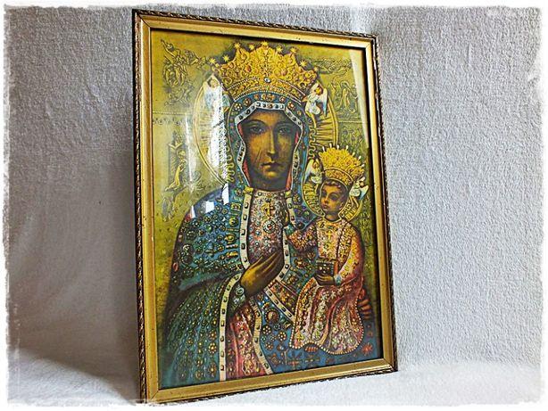 Stary Obraz Matki Boskiej z dzieciątkiem w ozdobnej złoconej ramie