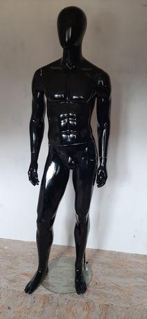 Manekin męski wystawowy, sklepowy, pelnopostaciowy, czarny połysk