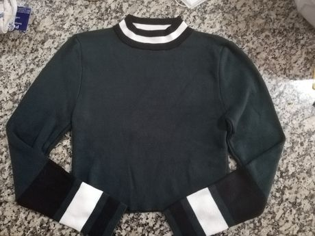 Camisola/top verde escuro de manga comprida