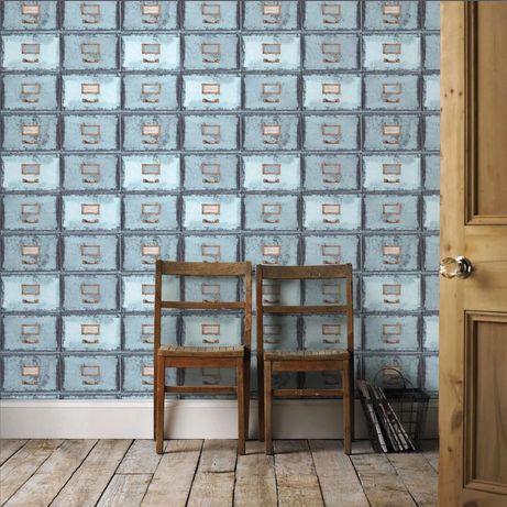 Tapeta na ścianę szuflady niebieska