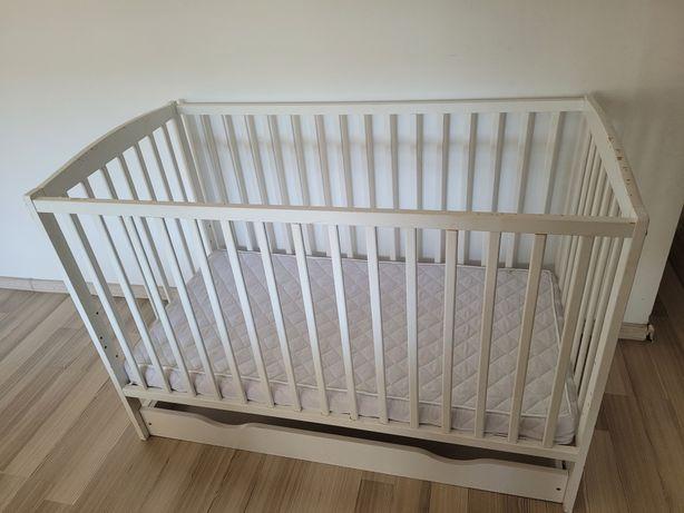 Łóżeczko niemowlęce białe z szufladą i materacem