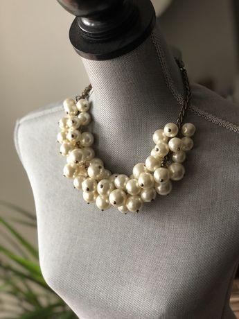 Perły Zara naszyjnk duży wisor złoty złoto perłowy ZARA