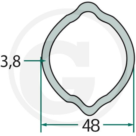 Rura profilowa wałek WOM 48mm cytryna G6(ramiona ramie zgrabiarka Kron