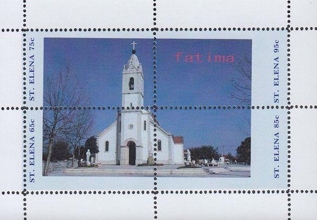 Coleção de Selos com sobretaxa cidade e igreja arquitetura Fatima