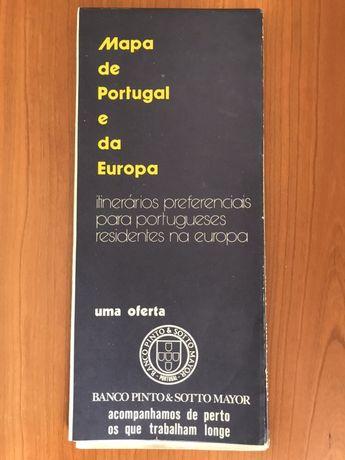 Mapa de Portugal e da Europa