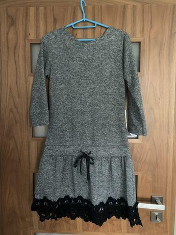Sukienka szara grubszy material z koronką rozm S/M