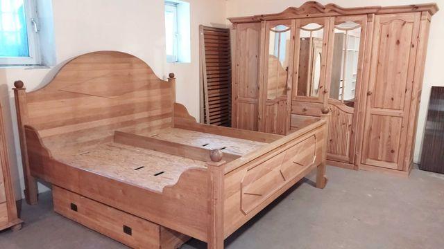 Sypialnia drewniana, bogaty zestaw.