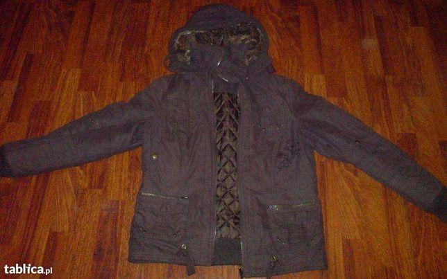 Brązowa kurtka z kapturem wiosna/ jesień, rozmiar 36