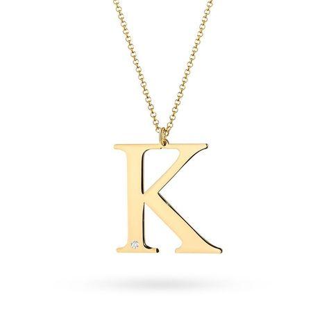 Zawieszka literka K, złoto 585 brylant, diament