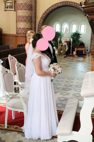 Suknia slubna Lorena biala r.38 koronka muślin