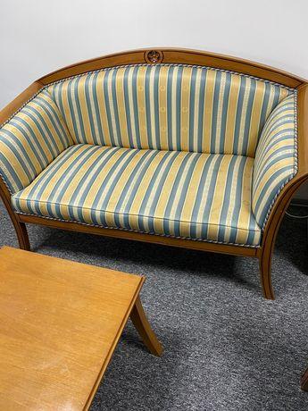 Komplet oryginalny indonezyjski kolonialny kanapa, fotel, stolik