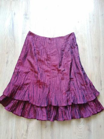 Piękna, bordowa, gnieciona spódnica - rozmiar 46, produkcja polska