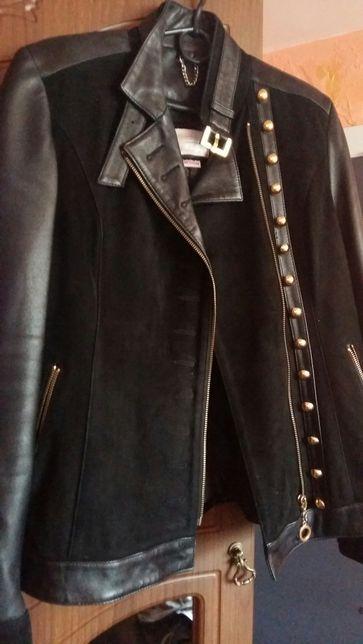 Шкіряна куртка з натуральним замшем