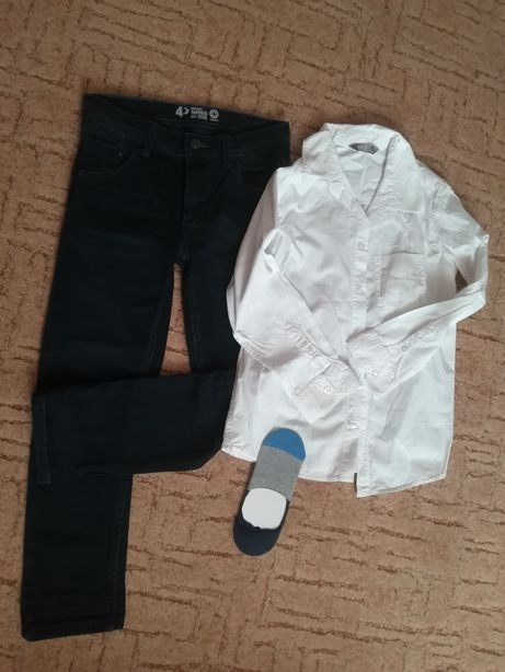 Zestaw spodnie dżinsy koszula firmy Cubus i Kids rozmiar 128