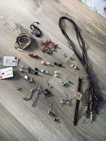 Zestaw biżuterii kolczyki branzoletka zegarek dużo rzeczy prezent
