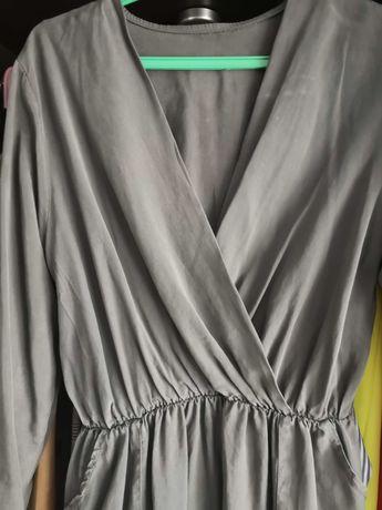 Sukienka M, kopertowa, szara