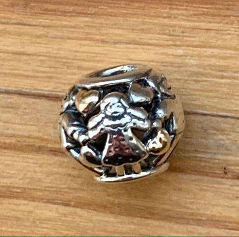 Pandora-nowy, oryginalny,przepiękny charms TT-złoto/srebrny Rodzina
