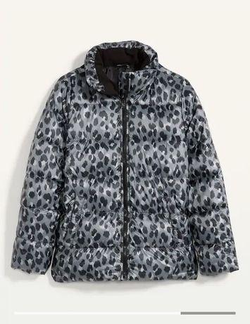 Пуховик на молнии с леопардовым принтом без мороза для женщин