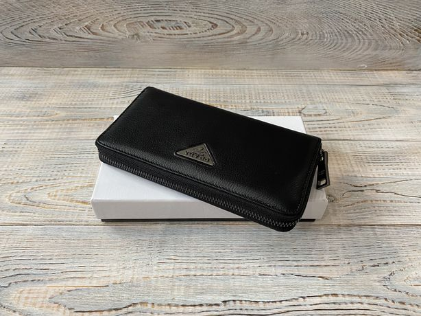 Кожаный кошелек клатч барсетка Prada Прада