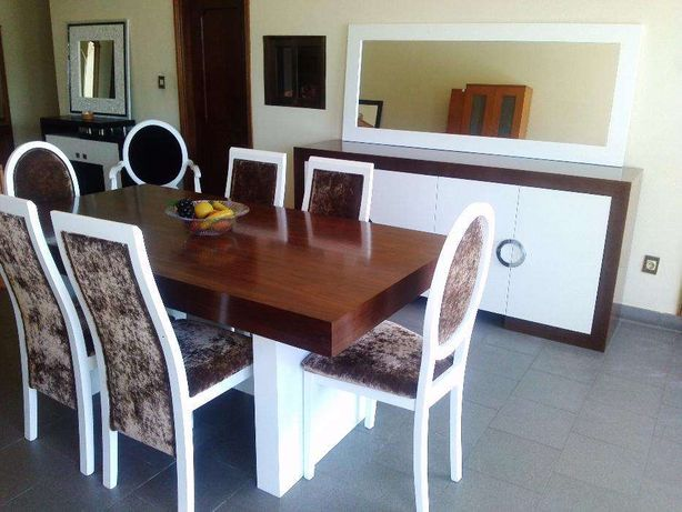 Sala Jantar - Branco/Nogueira - Conjunto Completo (NOVO)
