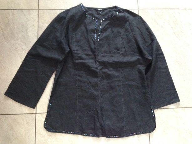 Bluzka czarna len koraliki ciemne XL H&M