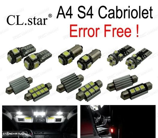 KIT COMPLETO DE 19 LÂMPADAS LED INTERIOR PARA AUDI A4 S4 CONVERTIBLE CABRIOLET CABRIO (2002-2009)