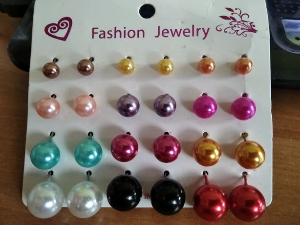 Zestaw kolczyków komplet kolczyki damskie perly perelki
