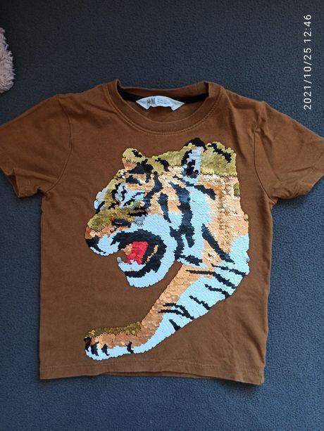 Koszulka, t-shirt z odwracanymi cekinami, H&M tygrys